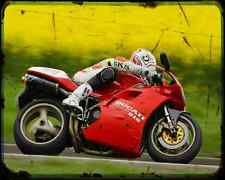 Ducati 916Sp A4 Photo Print Motorbike Vintage Aged