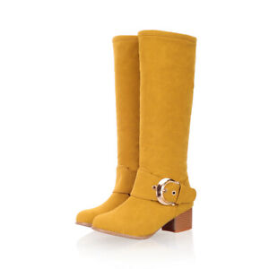 """Women""""s Faux Suede Knee High Boots Block Mid Heels Buckle Round Toe Ladies Shoes"""