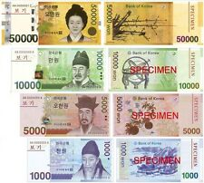 South Korea 50000 10000 5000 1000 Won Banknotes UNC Uncirculated Registered mail
