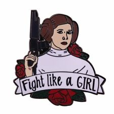 wars princess Leia pin girl power badge Fight like a girl feminist brooch Star