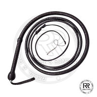 BULL WHIP 08 Feet 16 Plaits Cow Hide Black Color Leather CUSTOM BULLWHIP