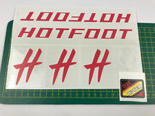 old school bmx decals stickers 1986 hotfoot set red and white on clear hi-ten