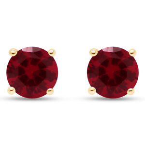 4 Ct Round Cut Ruby Sterling Silver Stud Earrings In 14k Yellow Gold Over Silver