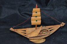 Vintage Small Wood Bamboo Sailboat Ship Clipper Schooner Model Island Art Wooden
