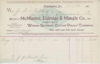 1900 McMaster Eldridge & Maugle Billhead Philadelphia PA Drapes Curtains Windows