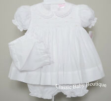 NWT Petit Ami White Smocked Lace 3PC Dress Newborn Reborn Baby Girls Bonnet