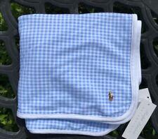 NWT Ralph Lauren Baby Boy's Blue/White Blanket, NEW
