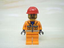 Lego Figur City  Bauarbeiter oranger Anzug roter Bauhelm  cty032  7905