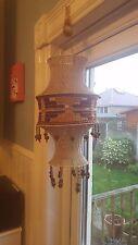 VINTAGE RETRO MACRAME BEADED ORIGINAL 1960S HANGING LAMP SHADE KNITTED HIPPY