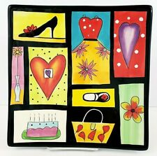 """Naylor Designs Hanging Decorator Plate 10"""" Hand Painted Square"""
