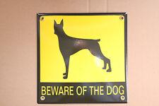 BEWARE OF THE DOG Hund, Warnung vor dem Hunde EMAILSCHILD Warnschild 20 x 20 cm
