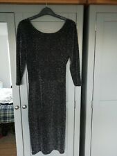 Ladies Atmosphere Black And Silver Glitter wiggle bodycon Xmas party dress