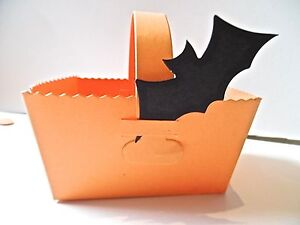 10 Orange Baskets with Handle Favour Gift Box Halloween. or 10 Baskets + 10 Bats
