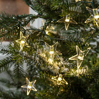 100 Warm White LED Star Outdoor Christmas Battery Operated String Lights