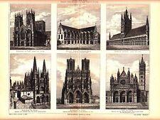 1894 Gothic Architecture ,12 -16 CENTURY, CATHEDRALS Antique Engraving Print