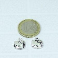 40 Colgantes 13mm T191X Hello Pendentif Ciondolo Argento Tibetano Kitty Charms