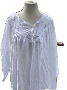 April Cornell Dressing Gown Night Gown Floral Women's Medium  White