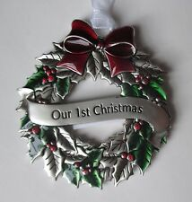 d Our First 1st CHRISTMAS HOLLY WREATH ORNAMENT ganz newlywed car charm holiday