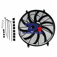 12V 16'' 16 INCH PUSH/PULL Electirc Thermo Curved Blade FAN+MOUNTING kits 12v
