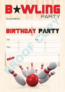 #41 BOWLING PARTY Pack of 10 kids children birthday party INVITATIONS