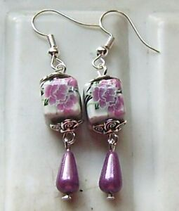 PURPLE SQUARE PORCELAIN EARRINGS AND MIRACLE BEADS