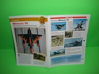DASSAULT MIRAGE III  AIRCRAFT FACTS CARD AIRPLANE BOOK 144