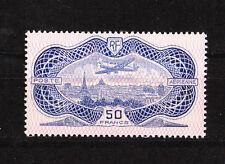 timbre france poste aérienne  num 15    le burelé 50f  outremer rose  signé   **