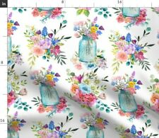 Country Watercolor Shabby Chic Wildflowers Spoonflower Fabric by the Yard