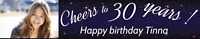 Personalised 30th  Happy Birthday Party Decorations  LARGE Fabric Black  Banner