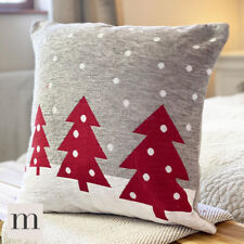 "Luxury Woven Chenille Dove Grey Red Christmas Trees Cushion Cover 17"" Festive"