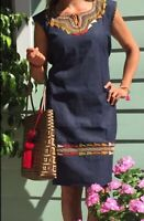 Mexican Dress Knee length  Blue Denim Huipil Embroidered Peasant Vtg M/L