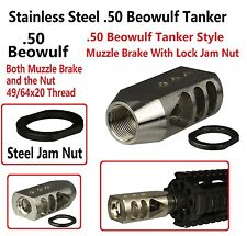 Stainless Steel 49/64x20 Tanker Muzzle Brake, .50 Beowulf, 49/64x20 TPI Jam Nut