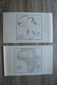 2 Landkarten Afrika 1895-1910 Stand 19. Jhd + Stand 1899 Orsangaben 16x28cm