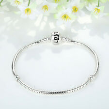 20cm Fashion Silver Snake Chain Love Charm Bracelet Fit European Charm Beads