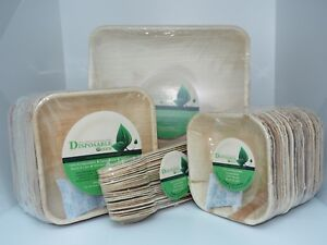Eco Friendly 25cm+15cm Plate+15 RoundBowl +Spoon(Free)- 3 Course Meal For 20 Ppl