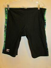 Speedo Men's Sz 38 Endurance Swimsuit/JAMMER Polyester BLACK/Green