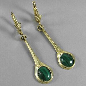 Schmuck-Michel Damen Ohrhänger Silber 925 vergoldet mit Malachit (1110)