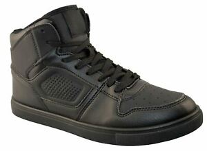 Mens Hi Top Lace Skate Basketball School Gym Running Casual Trainers Shoes Size