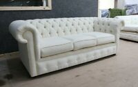 CHESTERFIELD TUFTED BUTTONED 3 SEATER SOFA COUCH OYSTER CREAM FABRIC