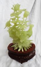 Gran figura de jade vintage de los Faisanes, aves y flores-C 1960s