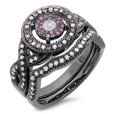Black Rhodium Plated Sterling Silver Diamond And Pink Sapphire Ring Set Size 5.5