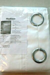 "HOOKLESS DOUBLE H HERRINGBONE SHOWER CURTAIN W/ WINDOW & SNAP IN LINER 77"" LONG"