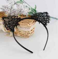 Black Lace Cat Ears Headband Animal Party Costume Head hair band Hair Accessory