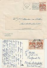 Michiel de Ruyterzegels 1957: paartje pb.kaart Ommen en e.f. brief Schiedam