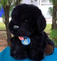 "Vintage 1985 Dakin Black Puppy Dog 9"" Plush Stuffed Animal Toy"