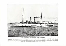 """The German Gunboat. """" Panther """". The Great War. Scarce print  circa 1919"""