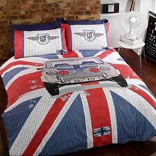 GT Mini Double Duvet Cover and Pillowcase Set Union Jack Car Bedroom Bedding