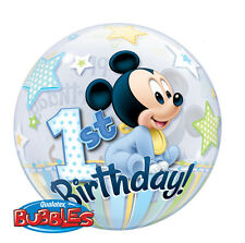 "1 X Disney Mickey Mouse 1st Birthday Qualatex Bubble Helium Balloon 22"" 12864"