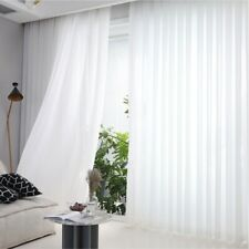 """2 Piece Sheer Voile Rod Pocket Window Panel Curtain Drapes Solid Color 54 63""""L"""