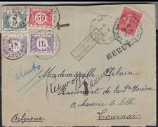 1927 France Francaise Cover to Belgium Belgique Return Postage Due Payer Betalen